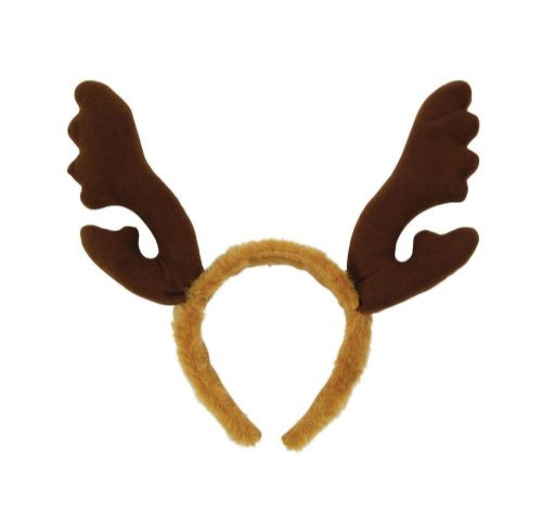 Reindeer Antlers Brown Fur Christmas Animal Festive Fancy Dress Accessory